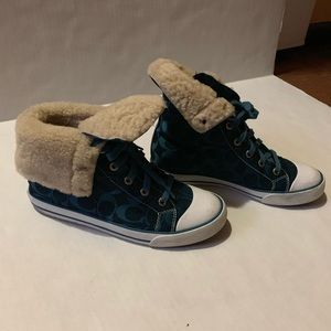 Teal Coach high top sneakers